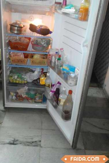 LG brand fridge, grey color